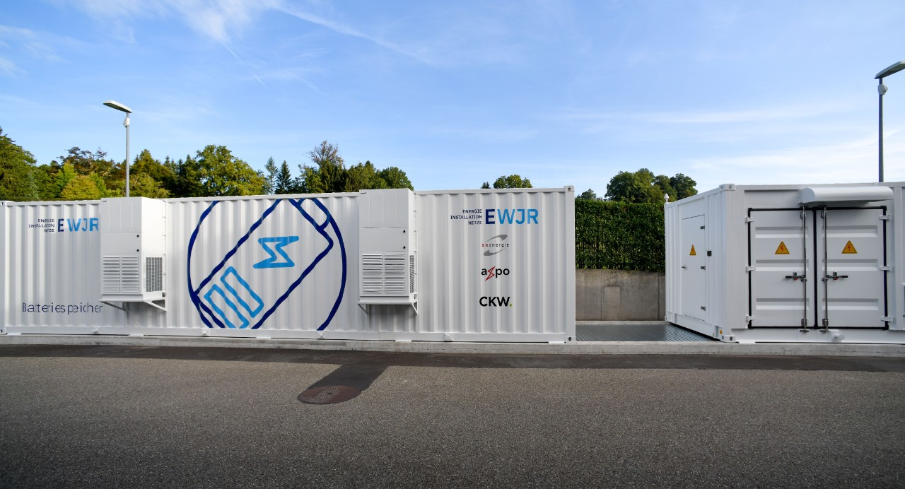 Axpo planned and implemented 2 MW / 2.17 MWh battery storage at the Jona-Rapperswil power station (EWJR)