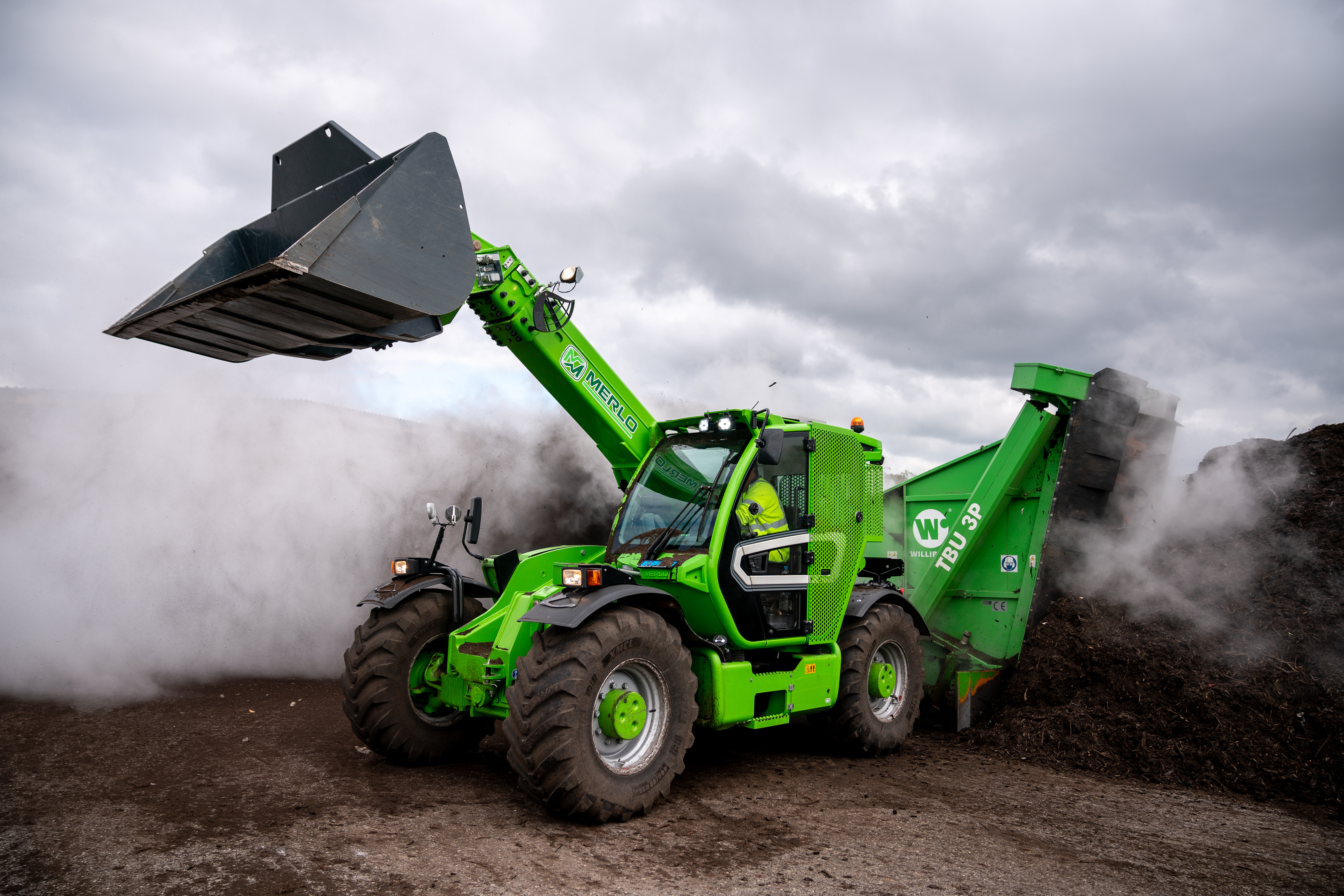 Turning compost piles: In order to achieve a high compost quality the piles must be turned regularly