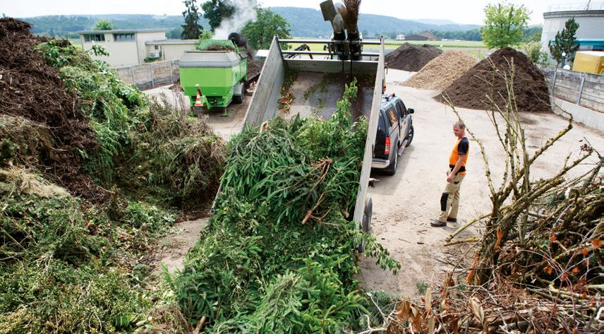 Processing green waste: Shredded green waste is directed to the appropriate processing method
