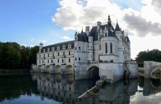 Chenonceau Castle at the river Cher