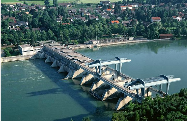 KW Säckingen: 25 % of this hydro power plant belong to Axpo. Start of construction 1961, start of production 1966. It's production is of 450 GWh in an average year.