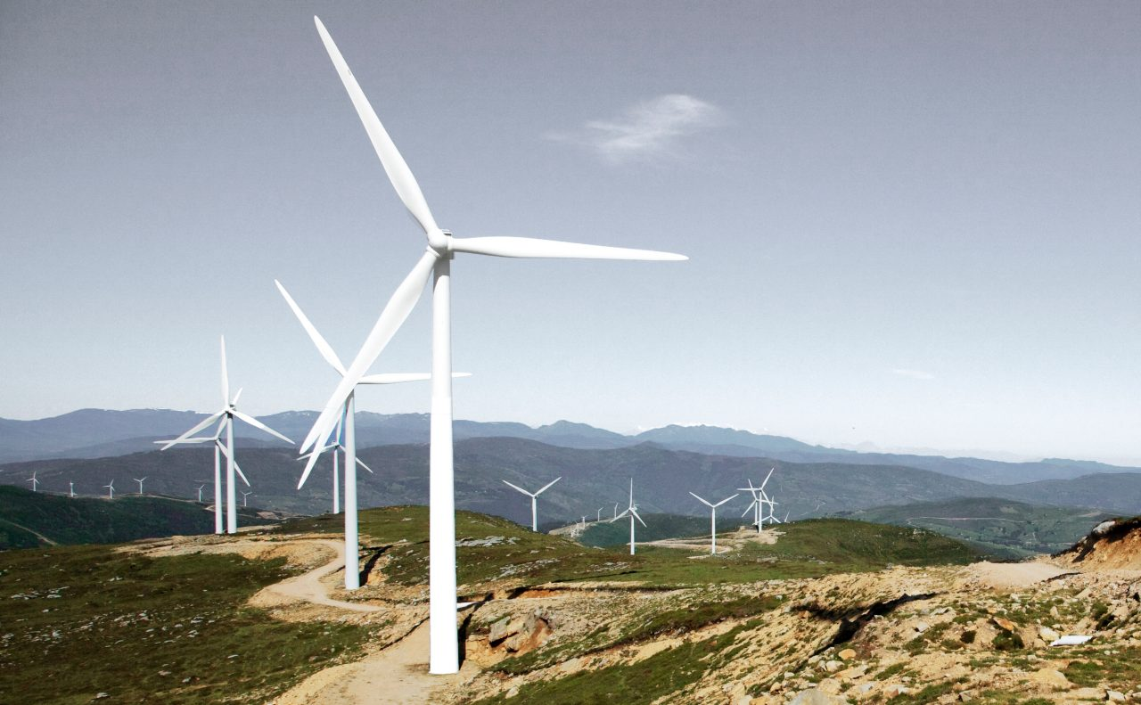 Panorama of a wind farm in Spain.
